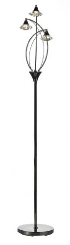 Dar Luther 3 Light Floor Lamp complete with Crystal Glass Black Chrome LUT4967 (Double Insulated)